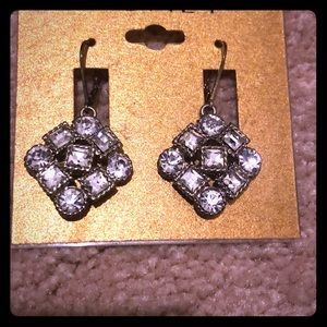 Monet gold and diamond earrings (costume jewelry)